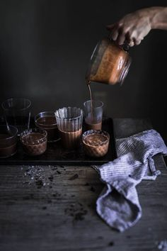 Cherry and Chocolate Pot De Creme Coffee Break, Dark Food Photography, Cocktail Photography, Photography Tips, Local Milk, My Cookbook, Chocolate Pots, Easy Desserts, Food Styling