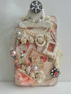 ALTERED PINK N WHITE CLIPBOARD - My Scrap Room