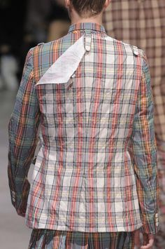 Comme Des Garcons Men's Details S/S '14...mixed plaid blazer with overlay detail.