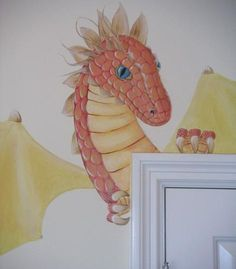 red dragon mural Can do something similar, but on a custom-cut watercolor paper or similar.