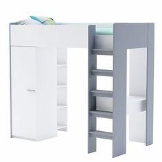 Filou - Lits 1 place-Lits Lit mezzanine 1 place blanc avec bureau (90x200cm)