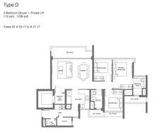 Principal Garden floor plan - 3 bedroom deluxe + private lift http://www.newlaunchonline.com.sg/principal-garden-showflat/