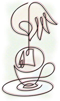 Time For Tea.by Von Glitschka. Minimalist Artwork, Wire Sculptures, Artistic Wire, Cuppa Tea, Tea Art, Quilt Stitching, Wire Crafts, My Tea, Wire Art