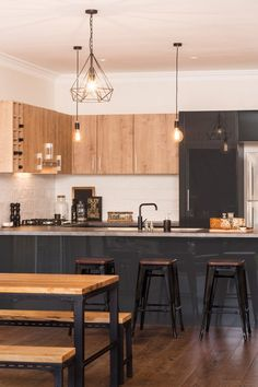 A beautifully refined colour palette is featured in this kaboodle kitchen design, including elegant spiced oak doors and panels, charcoala doors and panels, combined with the taranade benchtop. Industrial Home Design, Industrial Style Kitchen, Rustic Kitchen, Industrial Bathroom, Industrial Loft, Vintage Industrial, Industrial Furniture, Industrial Bookshelf, Industrial Windows