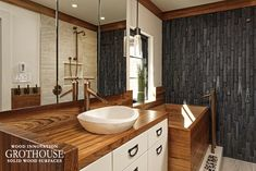 Vessel Sinks on Wood Bathroom Countertops can be the most striking feature in a bathroom, adding style and value to any bath space. Asian Bathroom, Japanese Bathroom, Open Bathroom, Wood Bathroom, Bathroom Faucets, Bathroom Ideas, Lavatory Faucet, Master Bathrooms, Bathroom Remodeling