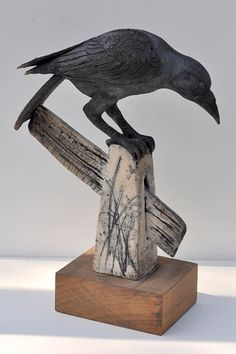 Ceramics by Celia Allen at Studiopottery.co.uk - 2012. Crow on Post, 45cm high, 37 cm long, Raku