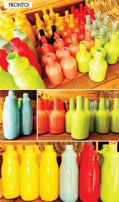 Pintando garrafas de vidro para decorar
