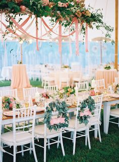 Love decor on back of chairs for reception seats (bride and groom) Marquee Wedding, Tent Wedding, Garden Wedding, Rustic Wedding, Marquee Decoration, Southern Wedding Inspiration, Reception Seating, Man And Wife, Floral Ribbon