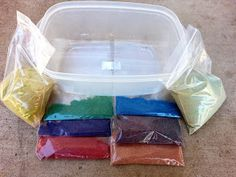 These are the ingredients you need to make a miniature Grand Canyon! Just layer the sand and add water...  The Scientific Mom: Gearing Up For A Grand Adventure!