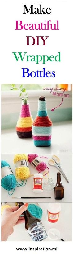 Make Your Own Beautiful Wrapped Bottles. Visit: http://inspiration.ml/make-your-own-beautiful-wrapped-bottles/