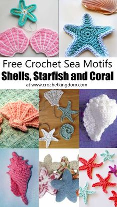 Crochet Sea Motifs - Shells, Starfish and Coral. Free crochet patterns for sea shells, star fish, conch shells, clam shells and more! Free Crochet Pattern for a Short Hills Shell Women's Top. Skill Level: Easy Easy women's tank top crochet pattern fre Crochet Seashell Applique, Crochet Shell Pattern, Crochet Starfish, Crochet Applique Patterns Free, Crochet Fish, Freeform Crochet, Cute Crochet, Crochet Flowers, Crochet Stitches