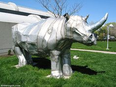 Rhino sculpture : Lots of rivets! Enough for two Boeings! London, Ontario