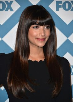 Hannah Simone Long Straight Cut with Bangs - Hannah Simone stuck to her flowing tresses and trademark bangs when she attended the Fox All-Star party.