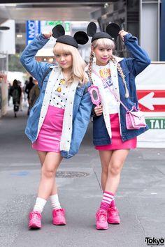 Barbie Girls w/ Vintage Fashion & Mouse Ears in Shibuya (Tokyo Fashion, 2015)