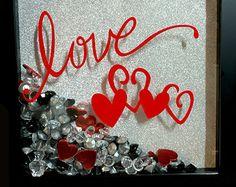 Valentine Decor   Valentine Shadow Box   Hearts Shadow Box   Valentine   Love Picture   Valentine Gift   Valentine Present   Love