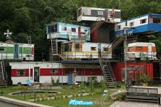 Multi-level mobile home! What a community! Its the High rise for Trailer parks, Movin on up to the top trailer, way up high in the sky...