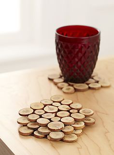 Mini wood slices coasters Backed with felt so they don't scratch and sealed to protect the discs - definite Matt project!