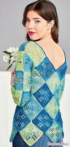 Пуловер из квадратов Простой пуловер в стиле 70-х, с V-образными вырезами на груди и на спине, собран из 58 «бабушкиных квадратов». РАЗМЕРЫ 36/38 (40/42) 44/46 ВАМ ПОТРЕБУЕТСЯ