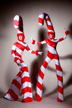 Candy Canes on Stilts: from www.FlamingFun.com Call 07788732552 for more info.