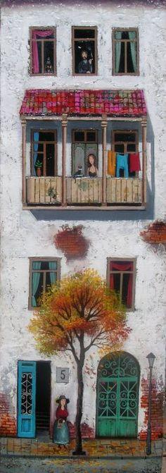 Illustration/Painting by David Martiashvili Art And Illustration, Illustrations, Art Academy, Naive Art, Art Plastique, Painting & Drawing, Artist Painting, Home Art, Art Drawings