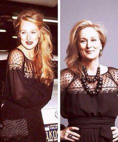 Meryl Streep não vê problema em repetir roupas,aqui vemos a atriz com o mesmo vestido em 1979 e atualmente.Ser chique é uma  questão de atitude