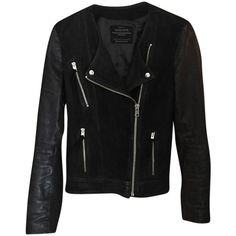 Pre-owned Allsaints Connell Leather Biker Leather Jacket ($219) ❤ liked on Polyvore featuring outerwear, jackets, black, allsaints, distressed jacket, biker style jacket, 100 leather jacket and leather biker jacket