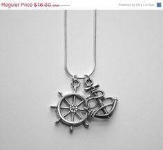 ON SALE Anchor and Wheel Necklace for men or by FancyFlairLtd