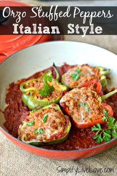 Make these kid approved Italian Stuffed Peppers in only 5 easy steps! They're healthy, delicious, easy to make and they freeze well too! Veggie Recipes, Real Food Recipes, Dinner Recipes, Cooking Recipes, Healthy Recipes, Delicious Recipes, Dessert Recipes, Meal Recipes, Yummy Yummy