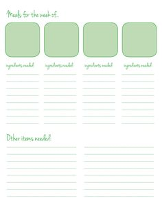 printable meal list