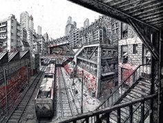city illustration metro http://www.archdaily.com.br/59955/arte-e-arquitetura-a-cidade-global-deck-two/