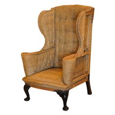 Large Queen Anne Wingback Chair, United Kingdom 18th C.