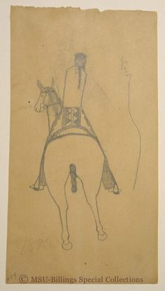 Crow Ledger drawing. Artist unknown. Drawing of a horse and rider. Date: 1896. Collection MSU-Billings.