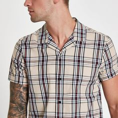 Woven fabric Check print Revere collar Short sleeve Button-up front Our model wears a UK M and is tall River Island Mens, Revere Collar, Check Printing, Collar Shirts, Workout Shirts, Woven Fabric, Style Guides, Short Sleeves, Men Casual