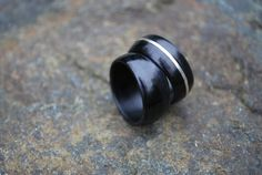 Wood Wedding Bands Sterling Silver Rings by Wellsbaredesigns