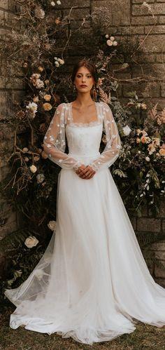 Indie Wedding Dress, Fairy Wedding Dress, Sheer Wedding Dress, Dream Wedding Dresses, Bridal Dresses, Wedding Gowns, Cottage Wedding, Wedding Dress Accessories, Long Sleeve Wedding