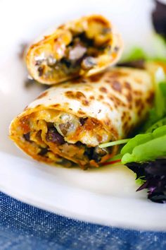 These Tortilla Egg Wraps inspired by Nadiya's Time to Eat are packed with Mediterranean flavor from mushrooms, oregano, olives, cheese, and sun dried tomatoes! A 10-minute breakfast, lunch, or dinner recipe that's perfect for one or two people. How To Cook Mushrooms, Sauteed Mushrooms, Easy To Make Breakfast, How To Make Tortillas, Egg Wrap, Whole Wheat Pancakes, Time To Eat, Real Food Recipes, Dinner Recipes