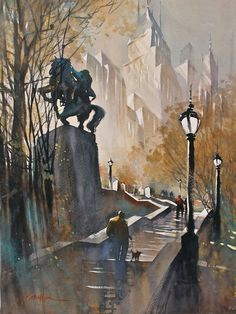 "*Watercolor - ""Steps to Simon Bolivar, New York City"" by Thomas W. Schaller"