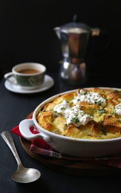 foodie fridays: crab and burrata brioche strata with fresh tarragon