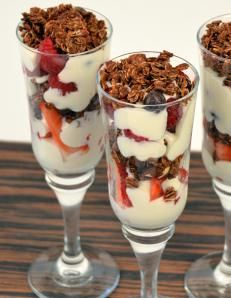 Granola Crunch Parfait  - www.mydcdsite.com/rosemitchell to place your order or to host your own dove chocolate party!  Substitute the lemon cream cheese mix for frosty white smoothie mix!!!! Yuuuum!