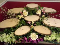 I like how rustic but elegant that is with the flowers. Just change the colors … - New Wedding Decorations Wedding Cake Stands, Cool Wedding Cakes, Wedding Cupcakes, Wedding Table, Rustic Wedding, Wedding Ideas, Rustic Cupcakes, Rustic Cake, Cake And Cupcake Stand