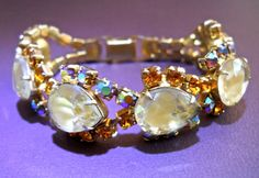 Givre Rhinestone Bracelet Topaz & ABs Vintage by RenaissanceFair