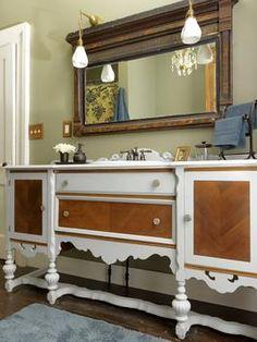 Turn an Old Dresser Into a Bathroom Vanity | DIYNetwork.com