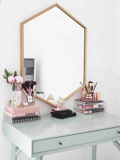 Image about makeup in Room Inspo by Bedroom Inspo, Bedroom Decor, Bedroom Ideas, Bedroom Furniture, Bedroom Designs, Furniture Plans, Kids Furniture, Bedroom Mirrors, Apartment Furniture