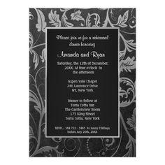 Damask Wedding Rehearsal Cards Black - Silver Damask Rehearsal Dinner Invitation