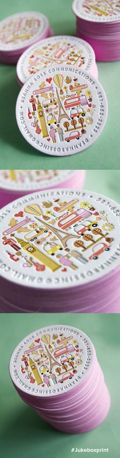 Cute circular business card produced with 15 colors of Letterpress and finished with painted pink edges.  Illustration by Dan Jazzia. Produced by Jukebox