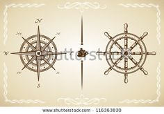 Vector Vintage Compass and Rudder. - stock vector