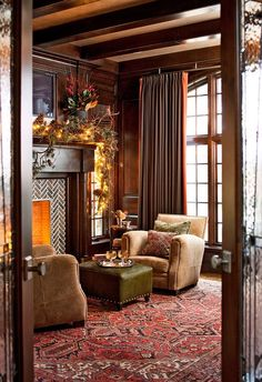 Appreciating This One of my favorite decorating looks - traditional style with red Oriental rug, neutral or leather furniture, fireplace.