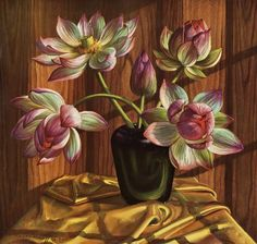 Lotuses by Vladimir Tretchikoff Sewing Artwork, Botanical Prints, Flower Art, Painting, Selling Art, Art, South African Art, South African Artists, Interesting Art