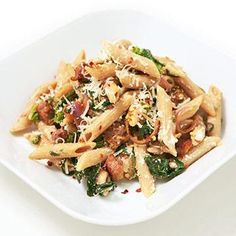 Penne with Broccoli Rabe and Ricotta  The secret to flat abs? Foods like whole grains, low-fat dairy, and lean protein, which curb hunger, boost your calorie burn, and prevent belly bloat. We've combined these slimming ingredients into a week's worth of delicious dinners.