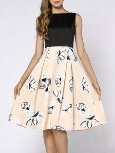 Coeur de Vague Black  amp  Cream Floral Sleeveless A-Line Dress - Plus Too 33bb91f0f